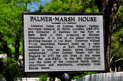 Bath, NC: State historic Sign at the Palmer-Marsh House Stock Images