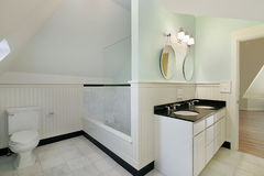 Bath in new construction home Royalty Free Stock Photo