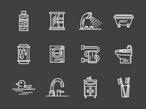 Bath objects white line icons collection Stock Image