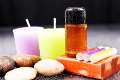 Bath Oil And Candles Royalty Free Stock Images