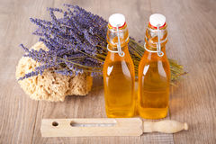 Bath oil with lavender flavor Royalty Free Stock Photo