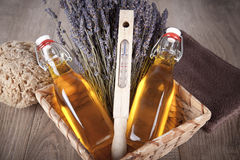 Bath oil with lavender flavor Stock Image
