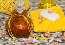 Bath oil and soap Royalty Free Stock Photography