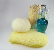 Bath oil and sponges Stock Images