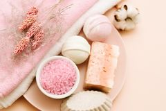 Bath pampering set beauty care relaxation leisure stock images