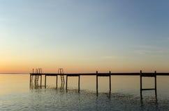Bath pier silhouette Stock Photo