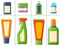 Bath plastic bottle shampoo container shower flat style illustration for bathroom vector hygiene design. Stock Images