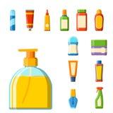 Bath plastic bottle shampoo container shower flat style illustration for bathroom vector hygiene design. Stock Image