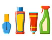 Bath plastic bottle shampoo container shower flat style illustration for bathroom vector hygiene design. Royalty Free Stock Photo
