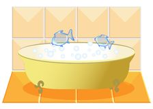 A bath with playing fish Royalty Free Stock Photo