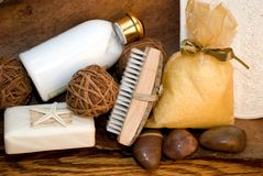 Bath products. A still life of various bath products on an old oak and wood background Royalty Free Stock Photography
