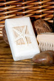 Bath Products. Still life of various bath products on old oak and woven basket background Stock Photo