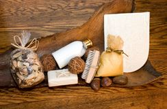 Bath Products. Still life of various bath products on old oak and wood background Stock Photo