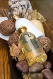 Bath Products. Still life of various bath products on old oak background Stock Image