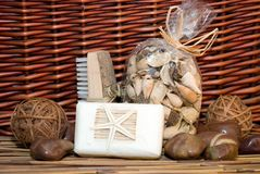 Bath Products. Still life of various bath products on cane and straw background Royalty Free Stock Photo