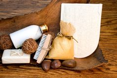 Bath Products. Still life of various bath products on old oak and wood background Stock Images