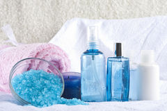 Bath products. Salt, shower gell and towels Royalty Free Stock Photos