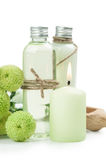 Bath products, candles, wooden background Stock Image