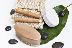 Bath products on a leaf stock photo