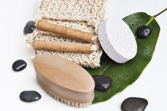 Bath Products On A Leaf Stock Photo