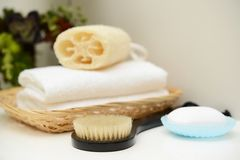 Bath time. Bath products on the table stock photo
