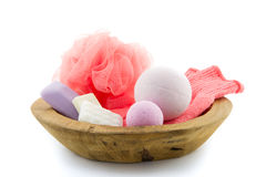 Bath products in a wooden bowl Stock Photos