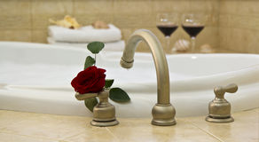 Bath, red rose, wine. Romantic Bath awaits her arrival Stock Image