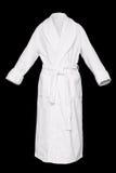 Bath robe. White fresh bath robe isolated on black background Stock Images