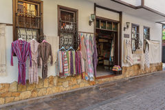 Bath Robes. Exterior of an Autentic Shop Selling Bath Robes and Towels Stock Image