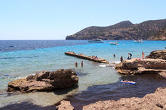 Bath rocks Sant Elm in Majorca Stock Photography