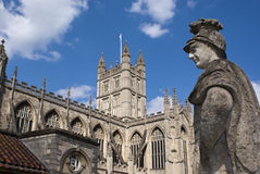 Bath. Ancient roman thermal  and cathedral in England Stock Images