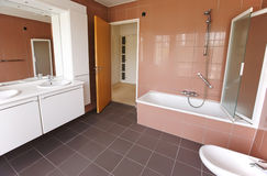 Bath room. Empty bath room in new apartment royalty free stock images
