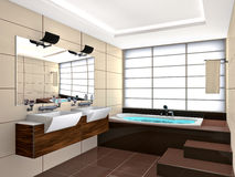 Bath Room. Modern bath room interior. Made in 3D Stock Image