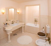Bath room. Empty bath room in new apartment stock images