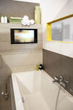 Bath room. Interior of modern bath room with tv stock image