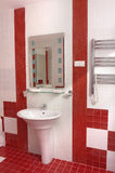 Bath-room. In modern hotel in white and red colors stock photography