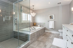 Bath room. A beautiful master bath room stock photo