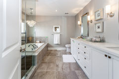Bath room. A beautiful master bath room royalty free stock photo