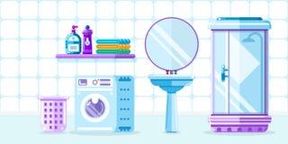 Bath room interior, vector flat style illustration. Bathroom furniture, shower cabin, sink and washing machine stock illustration