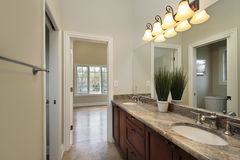 Bath room in new construction home Stock Images