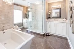 Bath room. A nice view of a master bath room stock image