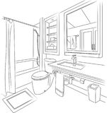 Bath Room Sketch and Outline Vector Illustration. For many purpose such as architecture and interior blog, website, magazine, etc. EPS 10 file format Stock Illustration