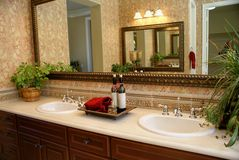 Bath Room Vanity. Beautiful bath room with double sinks stock photo