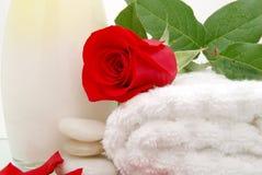 Bath rose. Bath lotion towel and rose Royalty Free Stock Image