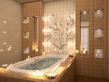 Bath with rose petals by candlelight. 3d illustration of bath with rose petals by candlelight Royalty Free Stock Photo