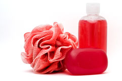 Bath rose, shower gel and soap bar Stock Images