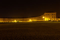 Bath Royal Crescent by night. ENGLAND, BATH - 21 APRIL 2015: Bath Royal Crescent by night stock image