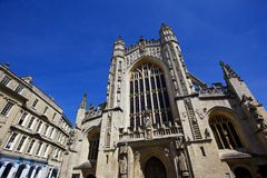 Bath's Abbey. Front of Bath's Abbey. Shot in the square where the bath's entrance is located royalty free stock photos