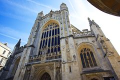 Bath's Abbey front. Front of Bath's Abbey. Shot in the square where the bath's entrance is located stock photos