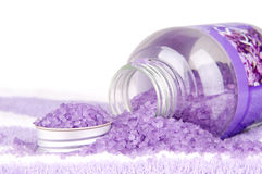 Bath salt. Violet bath salt on white background Stock Images